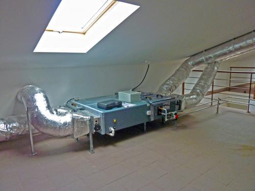 Centrala wentylacyjna VTS zamontowana na poddaszu użytkowym
