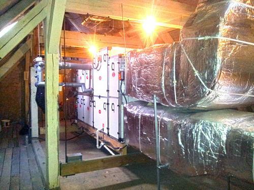 Centrala wentylacyjna VTS zamontowana na poddaszu